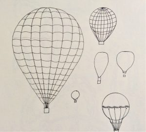 Pen and ink sketches of hot-air balloons.