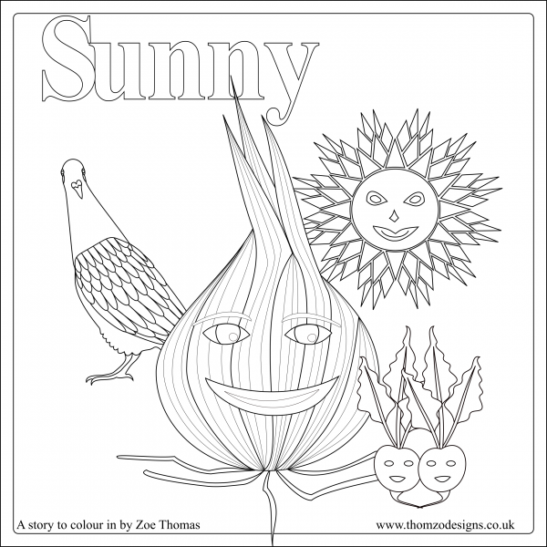 Black and white line drawing of Sunny, the onion, with a sun, a pigeon and some beetroot